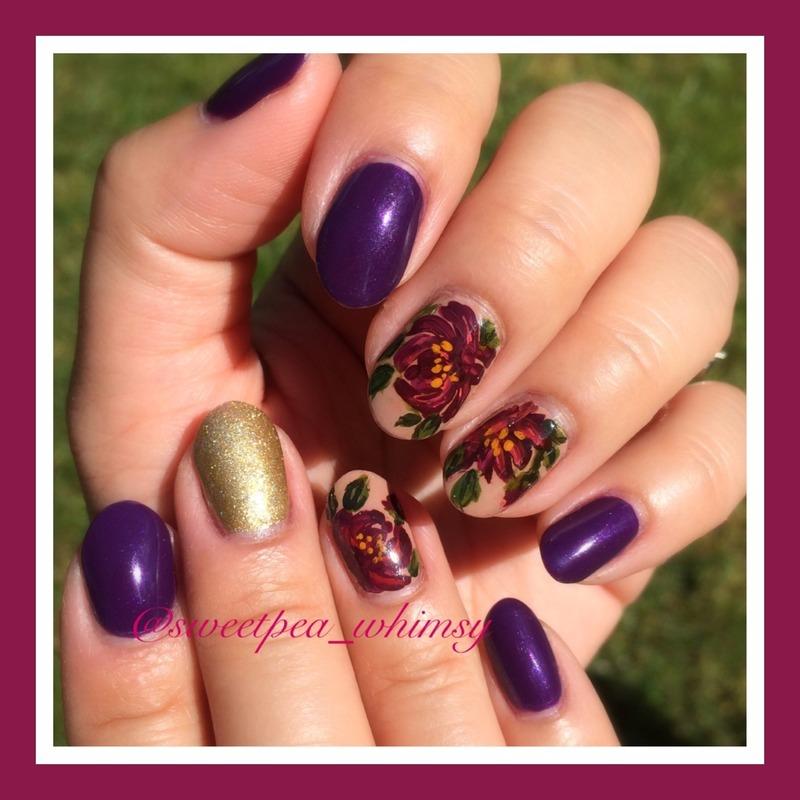 💜 Purple Peonies nail art by SweetPea_Whimsy