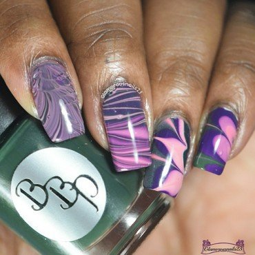 Watermarble Wednesday nail art by glamorousnails23