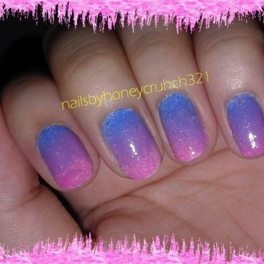 Blue > Purple > Pink Ombre nail art by honeycrunch321