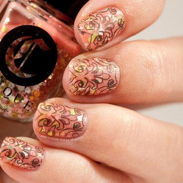Stamping over pink nail art by Zara TracesOfPolish