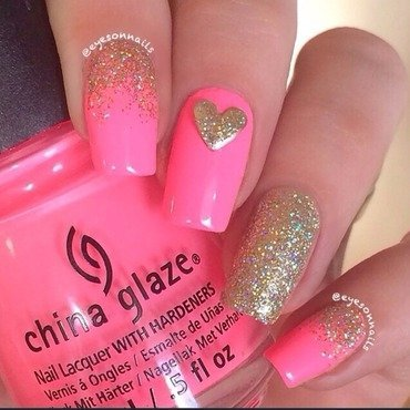 Pink & glitter  nail art by Virginia