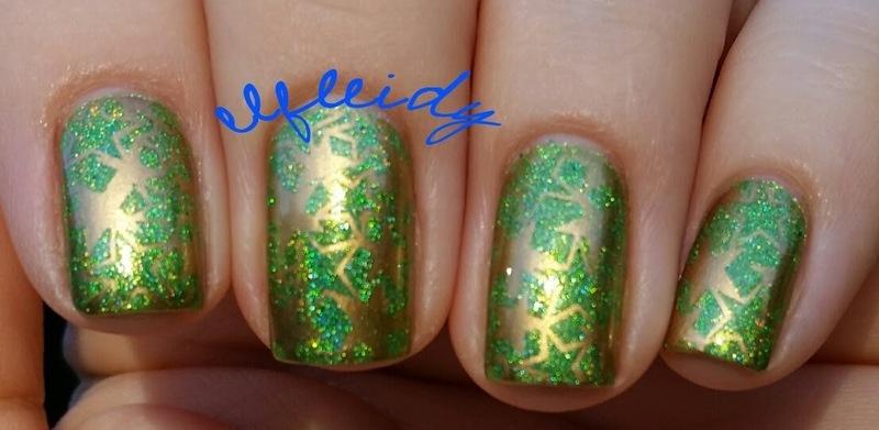 Green with gold stars nail art by Jenette Maitland-Tomblin