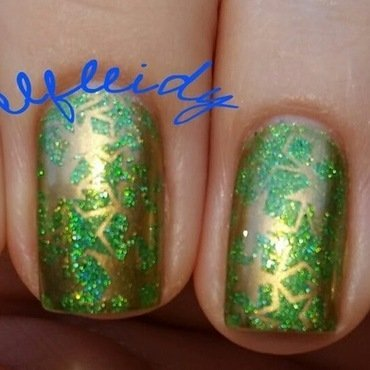 Green with gold stars nail art by Jenette Maitland-Tomblin