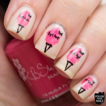 Delicate pink cotton candy sweets nail art 4 thumb370f