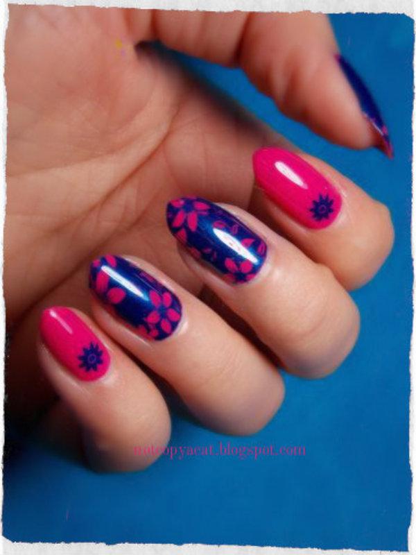 Flowery manicure nail art by notcopyacat