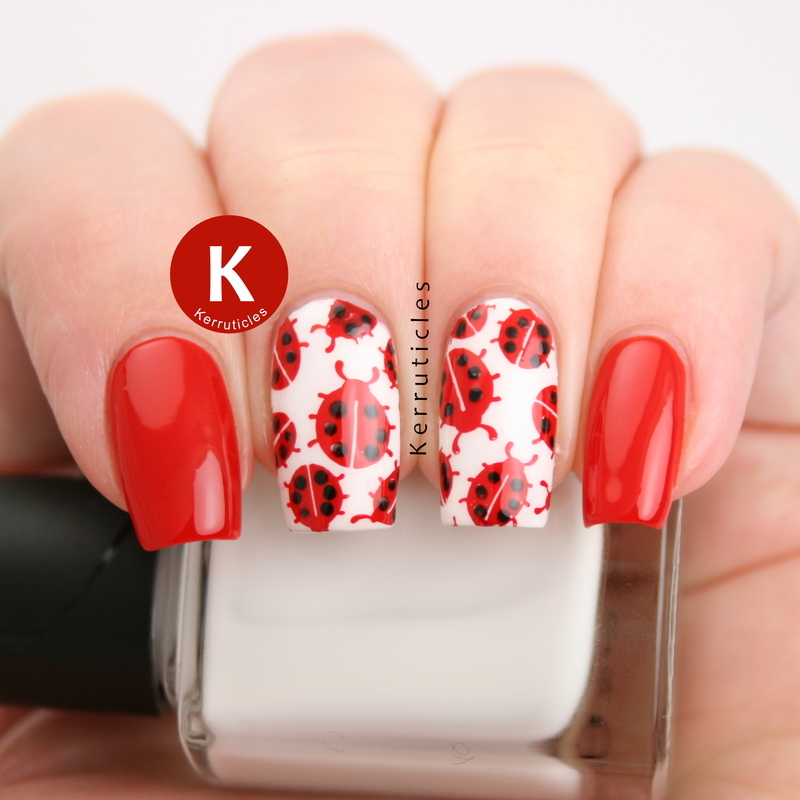 Ladybirds / ladybugs nail art by Claire Kerr