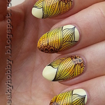 Coloured Sunflowers nail art by Mgielka M