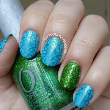 Bright 20blue 20with 20golden 20green 20swirly 20pattern 20stamping 20nail 20art thumb370f