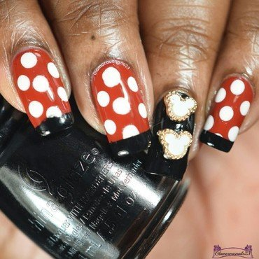 Minnie Mouse Themed Nail Art nail art by glamorousnails23