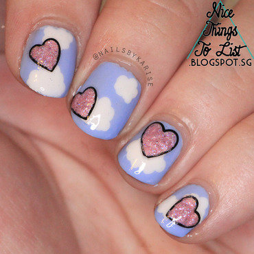 Glamnailschallenge april floating hearts clouds nail art thumb370f