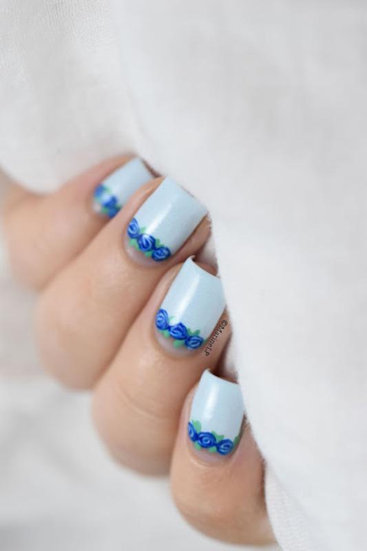 Floral half-moon nail art by Marine Loves Polish