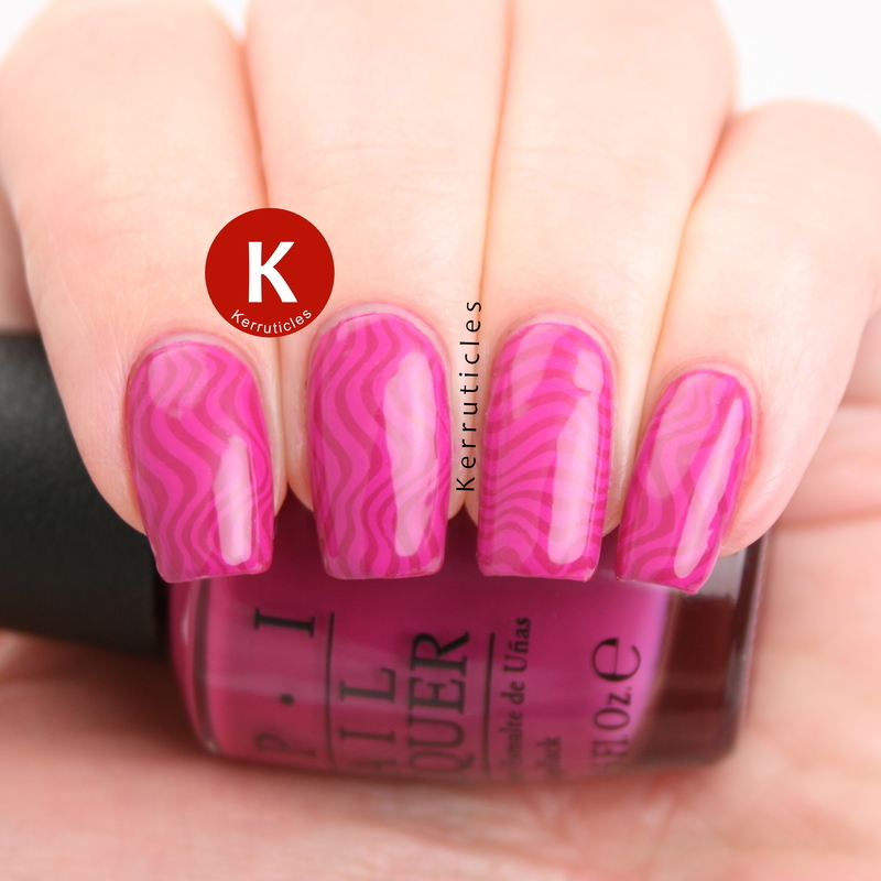 Magenta waves nail art by Claire Kerr