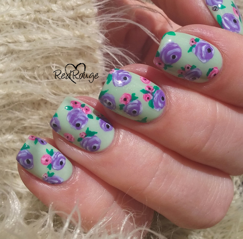 My first vintage flowers nail art by RedRouge
