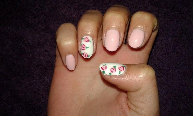 vintage roses  nail art by vesna