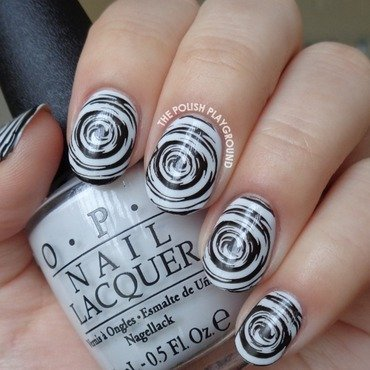 Monochrome Radioactive Swirls Stamping nail art by Lisa N