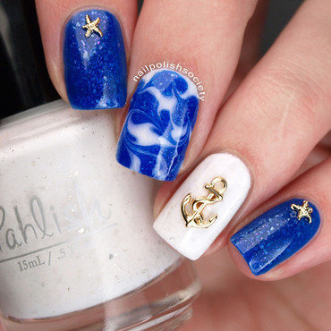 Nautical Needle Drag nail art by Emiline Harris