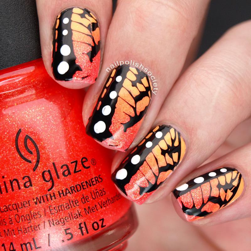 China Glaze Lite Brites Butterflies nail art by Emiline Harris