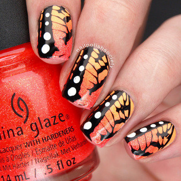 China Glaze Lite Brites Butterflies nail art by Emiline Harris