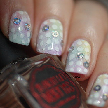 sheer rainbow dots and holo studs nail art by Dorothy NailAssay