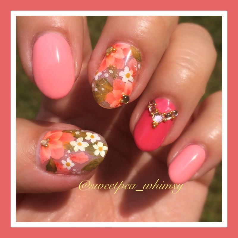 Pink One Stroke Flowers nail art by SweetPea_Whimsy