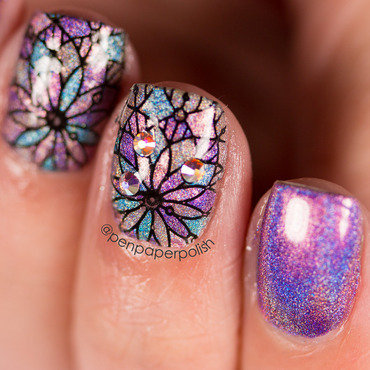 Stained Glass nail art by Misty