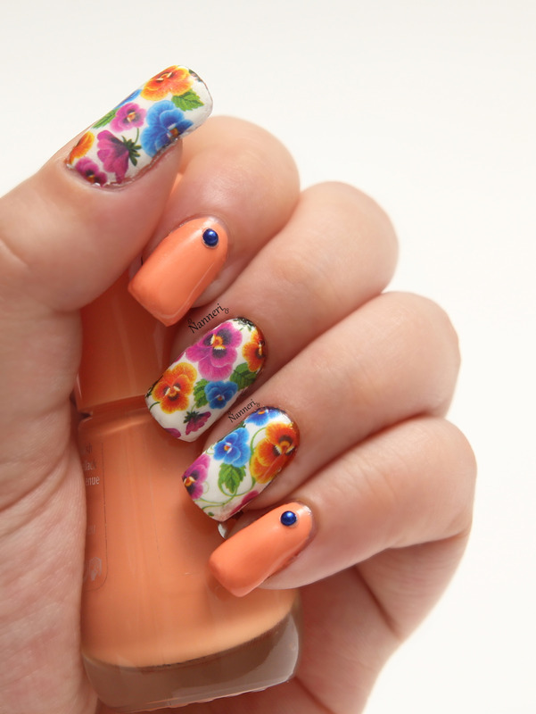 Pansies nail art by Nanneri