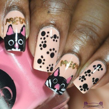 Cat Nails nail art by glamorousnails23
