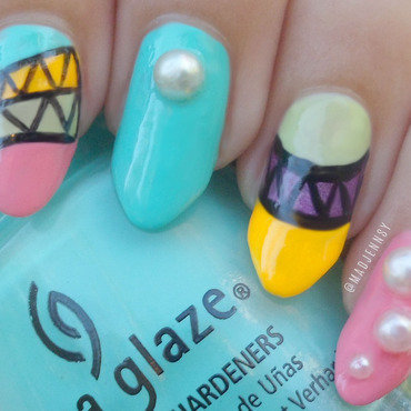Japanese Tribal Neon Nail Art  nail art by madjennsy Nail Art