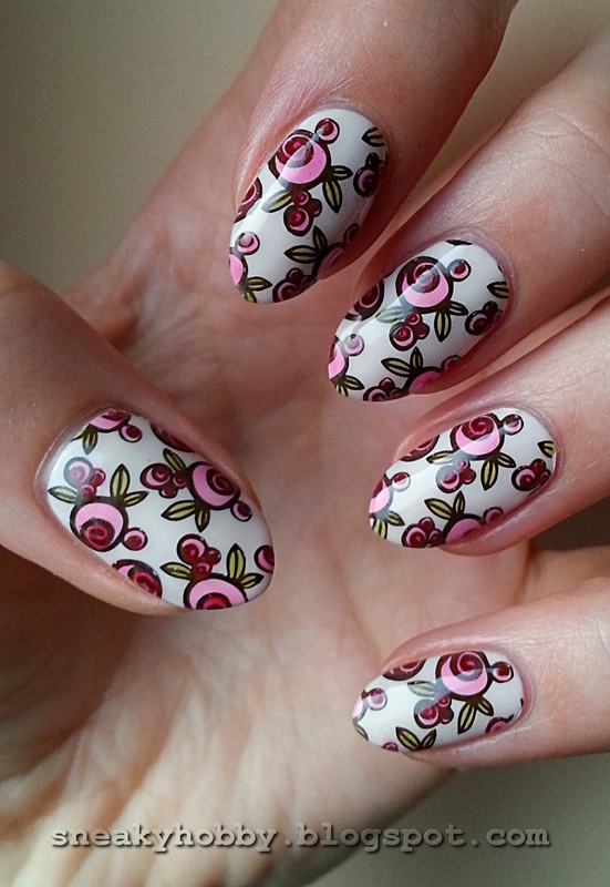 Coloured Roses nail art by Mgielka M