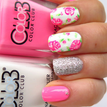 Hot pink vintage flowers nail art by theCieniu