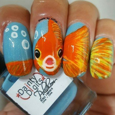 Foofie the Goldfish nail art by Milly Palma