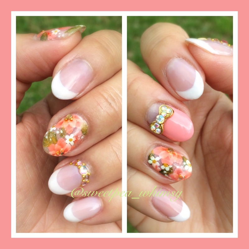 Pink French Manicure with One Stroke Flowers nail art by SweetPea_Whimsy