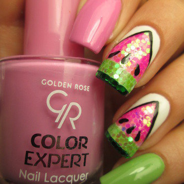 Glitter placement watermelon nails nail art by NailArt_T