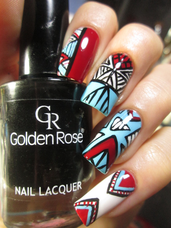 random shapes/tribal nail art by NailArt_T
