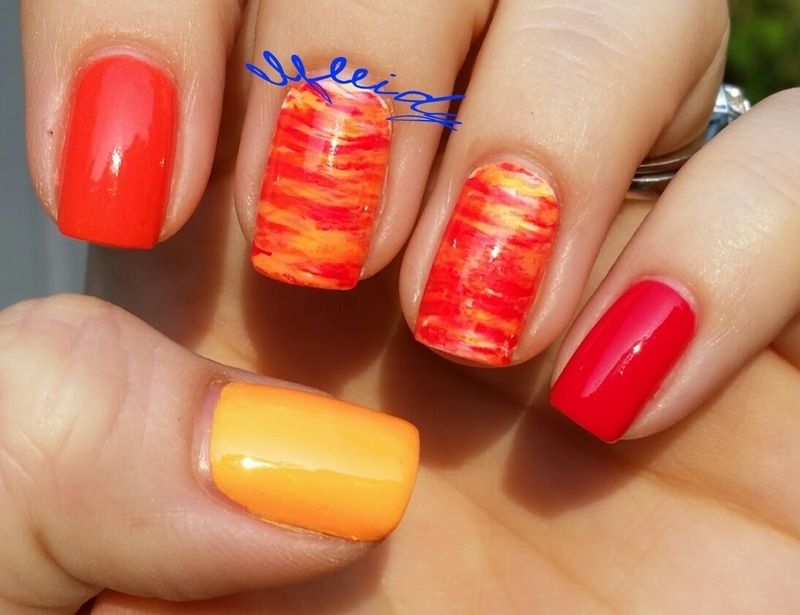 40 Great Nail Art Ideas- 3 shades of red/orange nail art by Jenette Maitland-Tomblin