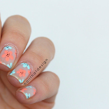 Negative Space Flowers nail art by NailThatDesign