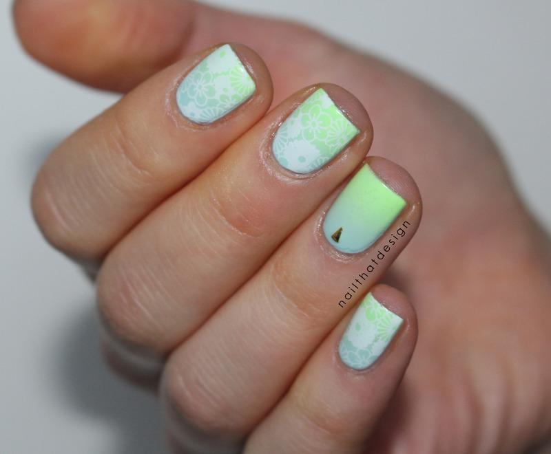 fresh gradient stamping nail art by NailThatDesign