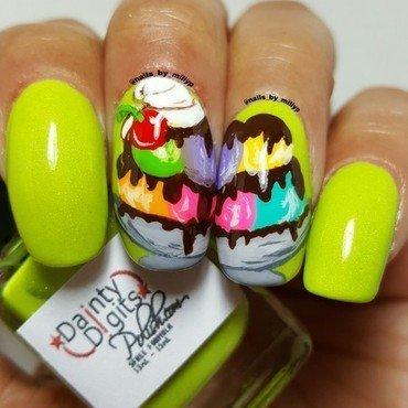 Ice cream / Gelato Sundae nail art by Milly Palma