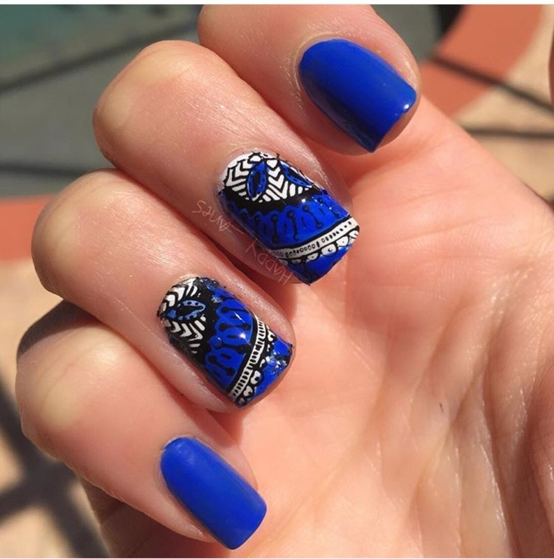 Blue Tiles  nail art by Happy_aries