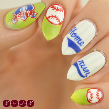 Home Run nail art by Becca (nyanails)