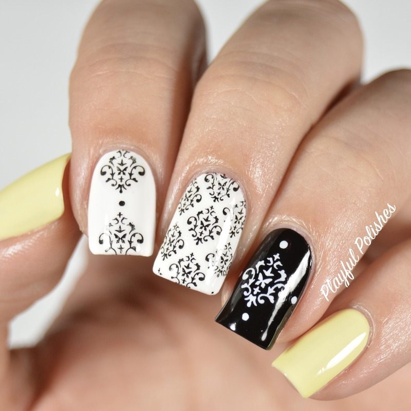 Damask Nail Art nail art by Playful Polishes