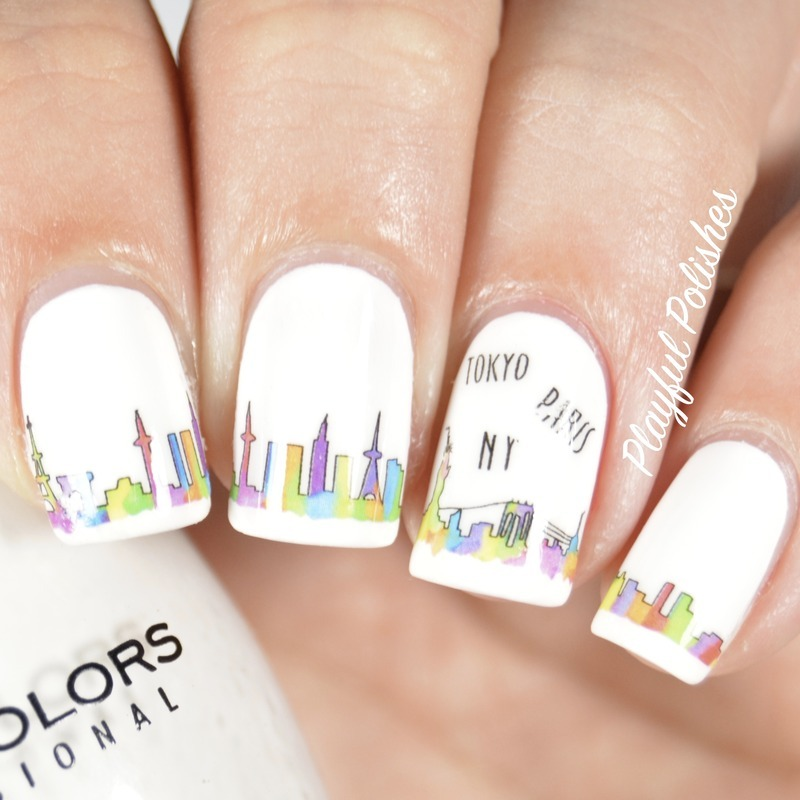 Watercolor City Nails nail art by Playful Polishes