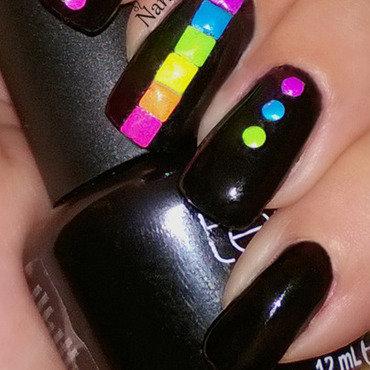 Neon Rainbow nail art by Nanneri