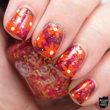 Fiery Florals nail art by Marisa  Cavanaugh