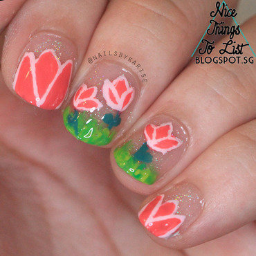 Glamnailschallenge april pink tulips nail art thumb370f