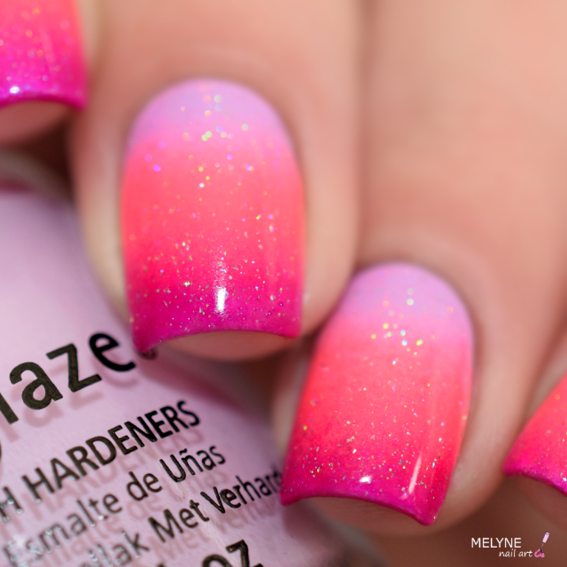Pink Gradient nails nail art by melyne nailart