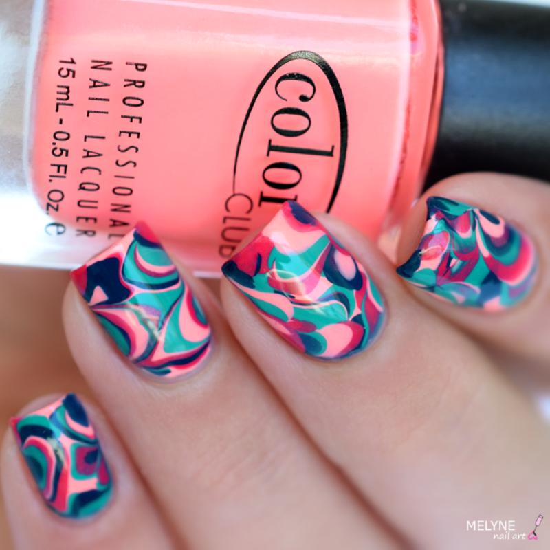 drop marble nails nail art by melyne nailart