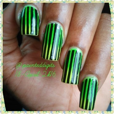 Green and Yellow Gradient with Black Stripes nail art by Painted Digits