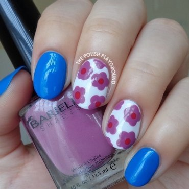 Blue with Purple Dotted Floral Nail Art nail art by Lisa N