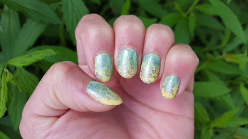 Green to Yellow Gradient, with Orchids! nail art by Alisha Worth